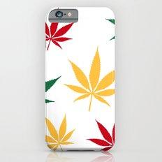 Rasta color leaves on white  Slim Case iPhone 6s