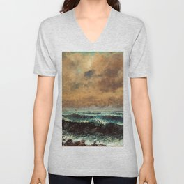 "Gustave Courbet ""Autumn Sea"" Unisex V-Neck"