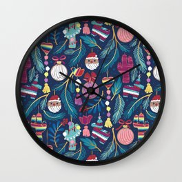 Mexican Christmas Tree // blue background blue pine leaves multicoloured holiday decorations pan dulce balls cacti hearts birds pom-pom garland pinatas santa claus conchas donuts Wall Clock
