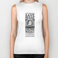 whisky Biker Tanks featuring Save Nessie, Drink Whisky! by stieven