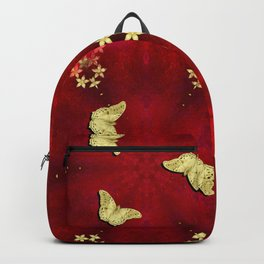 gold butterflies and flowers on red kaleidoscope Backpack