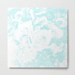 711 Camellias 1-6 Light Blue Metal Print