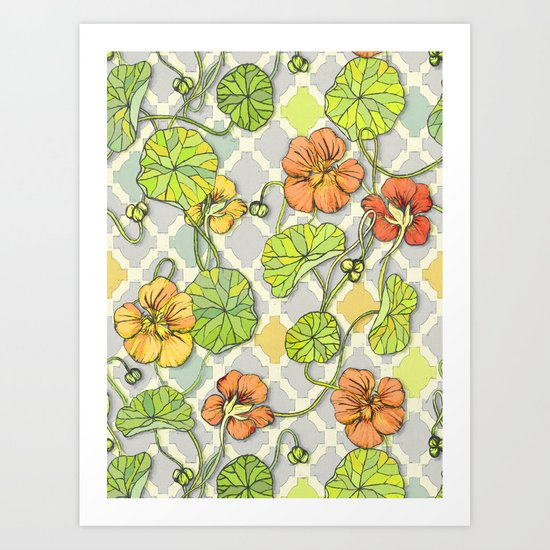 Climbing Nasturtiums in Lemon, Lime and Tangerine Art Print