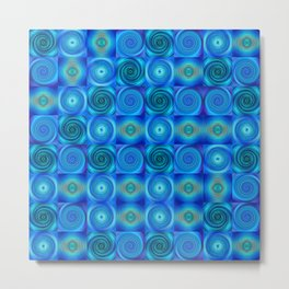 Blue Circles Abstract Art by Sharon Cummings Metal Print