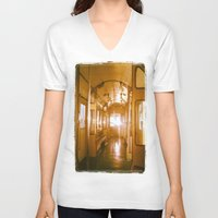 train V-neck T-shirts featuring Train  by Raquel Belloch
