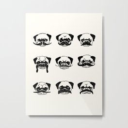 Moustaches of The Pug Metal Print