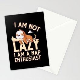 I am not lazy I am a nap enthusiast - cute sloth vintage illustration on dark background Stationery Cards