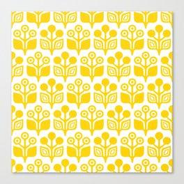 Mid Century Garden Flower Pattern Yellow Canvas Print