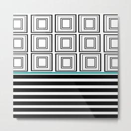 Black + White And Grid Metal Print