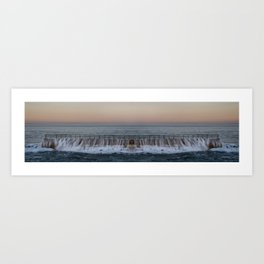A reflected panorama of a seawall as a wave washes over it in La Jolla, San Diego, California Art Print