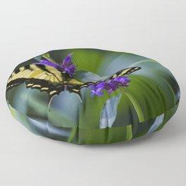 Butterfly on a Purple Flower Floor Pillow