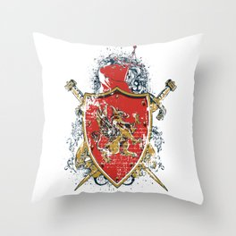 Griffin Shield - Swords - Coat of Arms Throw Pillow