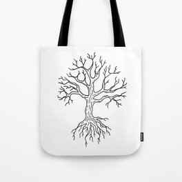 Leafless Rooted Tree Illustration Tote Bag