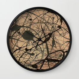 Pollock Inspired Abstract Black On Beige Wall Clock