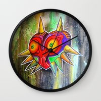 majora Wall Clocks featuring Majora mask by Lyxy