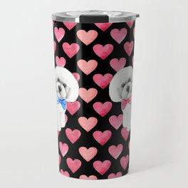 Bichon Frise Valentines Day Love Hearts Travel Mug