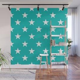 Stars (White/Eggshell Blue) Wall Mural