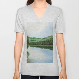 non-mirrored mountains Unisex V-Neck