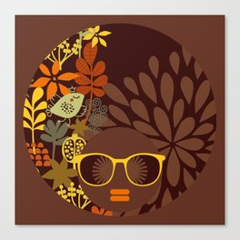 Afro Diva : Sophisticated Lady Retro Brown Canvas Print