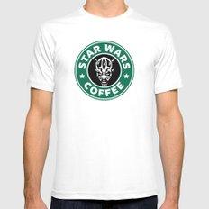 Star Wars Coffee (Darth Maul) MEDIUM Mens Fitted Tee White