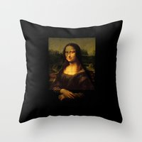 mona lisa Throw Pillows featuring MONA LISA by Ancient