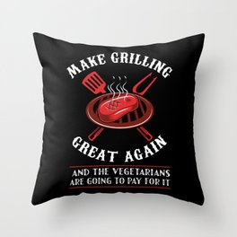 Make Grilling Great Again - gifts for bbq pit master Throw Pillow