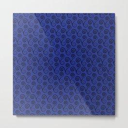 BLACK LACE TRISKELION ON ELECTRIC BLUE Metal Print
