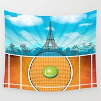 tennis Wall Tapestries featuring Paris Tennis by WIGEGA