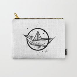 Paper Boat Handmade Drawing, Made in pencil and ink, Tattoo Sketch, Tattoo Flash, Blackwork Carry-All Pouch