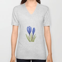 blue crocus buds watercolor painting  Unisex V-Neck
