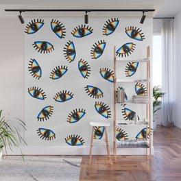 rainbow eye drawing pattern Wall Mural