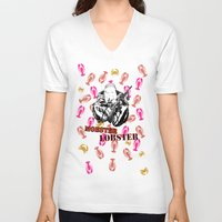 lobster V-neck T-shirts featuring Mobster Lobster by Alan Hogan