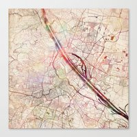 vienna Canvas Prints featuring Vienna by MapMapMaps.Watercolors