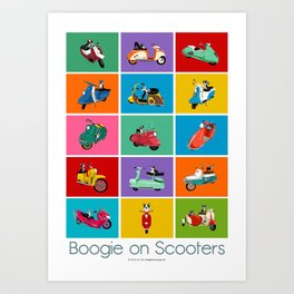 Boogie On Scooters Art Print