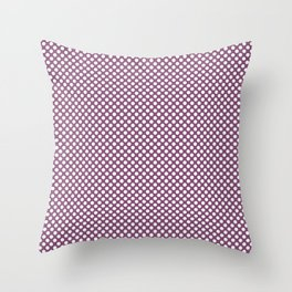 Amethyst and White Polka Dots Throw Pillow