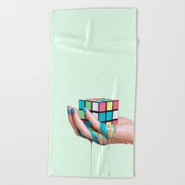 MELTING RUBIKS CUBE Beach Towel