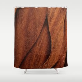 Beautiful Unique  brown wood inlay marquetry veneer design Shower Curtain