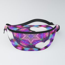 Floating hearts on abstract vibrant kaleidoscope Fanny Pack