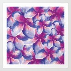 Purple Plumeria Floral Watercolor Art Print