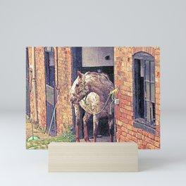 Horse in top shed Elvaston Castle, Derbyshire Mini Art Print