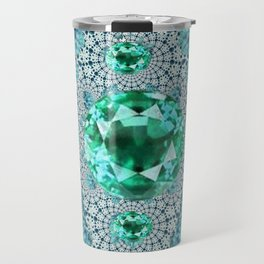 Emerald Gems May Birthstones Optical Pattern Travel Mug