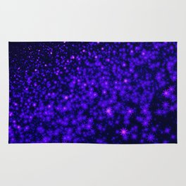 Christmas Blue Purple Night Snowflakes Rug