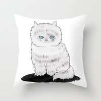 grumpy Throw Pillows featuring grumpy by manje