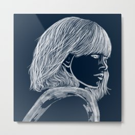 Woman Blue and white Fashion Illustration Metal Print