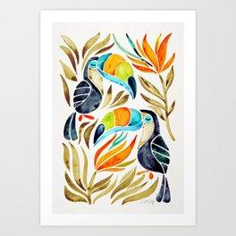 Tropical Toucans – Sepia Palette Art Print