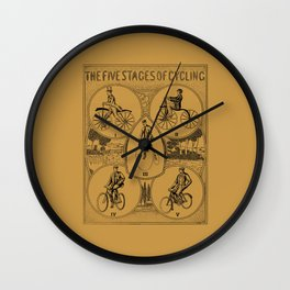 The five stages of cycling (bicycle history) Wall Clock