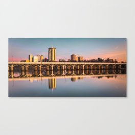 Downtown Tulsa Oklahoma Skyline on the Arkansas River - Panoramic Format Canvas Print