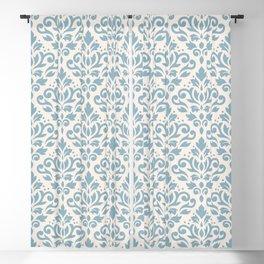 Scroll Damask Large Pattern Blue on Cream Blackout Curtain