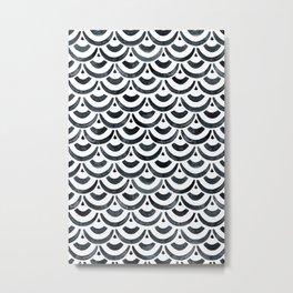 Black Watercolour Scales Pattern Metal Print