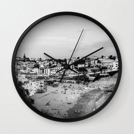 Carvoeiro town and beach in Lagoa, Algarve, Portugal. Black and White. Wall Clock